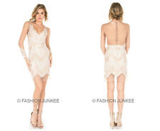 WHITE BEIGE Nude LACE MESH DRESS Sexy Sheer V-Neck Cocktail Long Sleeve S M L