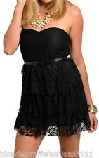 Black Tiered Ruffle Lace Sweetheart Strapless Tube Mini Dress/Tunic Skinny Belt