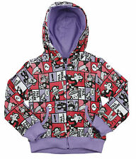 Paul Frank Little Girls Kids Julius Comic Strip Hoodie Sweatshirt, Violet
