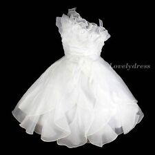 NEW Flower Girl Wedding Pageant Party Bridesmaid Dress Wears White SZ 4-9 Q608