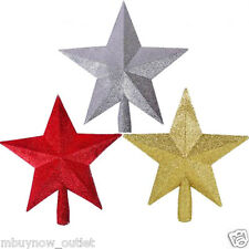 Glitter Star Christmas Tree Topper Decoration Christmas RED GOLD SILVER