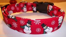 Snowman Dog Collar custom hand made adjustable Charming Red Christmas Fabric