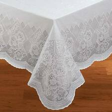 Floral Vinyl Lace Table Cover 3 Sizes Wipe Free Vinyl Kitchen Tablecloth NEW
