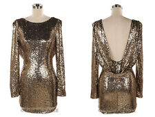 GOLD SEQUIN DRAPED DRESS Mini Backless Open Back Long Sleeve Cocktail NEW S M L