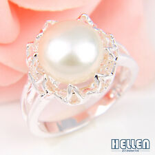Elegant Cute Natural White Pearl  Silver Plated Ring Size 7 8 9