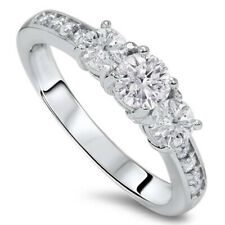 1.00 CTW Genuine Diamond 3 Three Stone Engagement Ring White Gold (Not Enhanced)