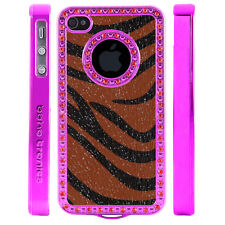 Gem Crystal Rhinestone Brown Black Zebra Shimmer Leather Case For Apple iPhone 5