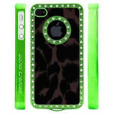 Apple iPhone 5 5S Gem Crystal Rhinestone Black Brown Leopard Print Felt case