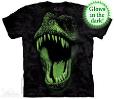 THE MOUNTAIN BIG FACE GLOW REX GLOWS IN THE DARK DINOSAUR T TEE SHIRT S-5XL
