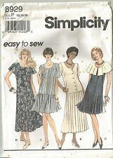 Simplicity Pattern 8929 Misses Dress with Pleated Skirt Bottom  Size 6 - 22