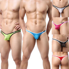 Mens Sexy Striped Gauze Sheer Capsular Bag Thongs Underwear 6 Color M L XL W38