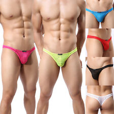 Brand Mens Sexy G-string Striped Gauze Sheer Thongs Underwear 6 Color M L XL W37