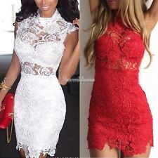 Womens Vintage Crochet Lace Bodycon Stretch Tunic Party Evening Pencil Dress SML