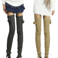 Fashion Women Knit Thigh High Twist Sock Footless Crochet Winter Warmer Leggings