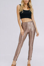 GOLD SEQUIN LEGGINGS Pants Metallic Stretch NEW Long Womens Holiday Sexy S M L