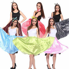 Girls Ladies 50s Vintage Polka Dot Grease Skirt Fancy Dress Dance Costume Outfit