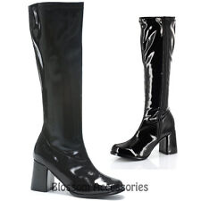 S31 Ladies Go Go BLACK Knee High Womens Gogo Boots Shoes Hippy 60'S 70'S Disco