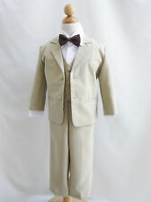 Boy khaki/taupe/white formal suit with black brown gold orange yellow bow tie