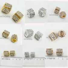 5/25x Silver/Gold Plated Rose Gold Copper European Beads Fit Charms Bracelets C