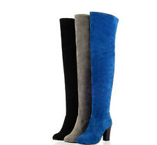 Vogue Block Heel Women's Over the knee Boots Faux Suede Winter Thigh High Shoes