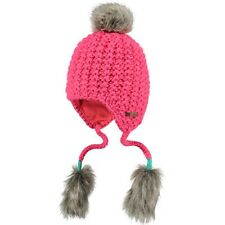 Barts Nouki Inka Kids Candy Bobble Hat Knitted Cap Pink Girl's Faux Fur Pompom