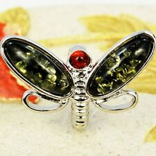 DRAGONFLY GREEN RED GREEN PRESSED BALTIC AMBER RING SIZE 6 7 8 9 10 R54-434