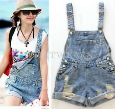 Fashion Womens Vintage Cute Loose Denim Jeans Short Overalls With Pocket S~L DAU