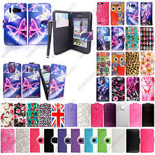 For Various Huawei Phones Printed Leather Magnetic Book Flip Case Cover+Stylus