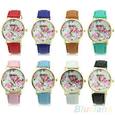 Women Charming Funky Geneva Rose Flower Faux Leather Analog Quartz Wrist Watch