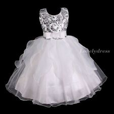NEW Flower Girl Wedding Pageant Party Bridesmaid Dress Wears White SZ 4-9 Q620