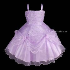 NEW Flower Girl Wedding Pageant Party Bridesmaid Dress Wears Purple SZ 4-9 Q602