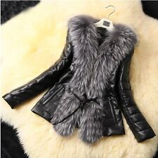 Xmas New Celeb Style Warm Faux Fur Collar PU Leather Trench Coat Jacket Outwear