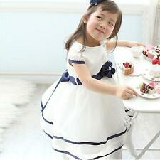 Kids Girls Princess Pure Yarns Skirts Bow Flower Party One Piece Dress 2-7Y E20