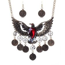 Power symbol eagle tiercel flying wings dangle coins crystal pendant necklace