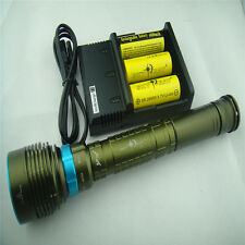 10000Lm 7x CREE XM-L2 LED Rechargeable Scuba Diving Flashlight Torch Light 26650