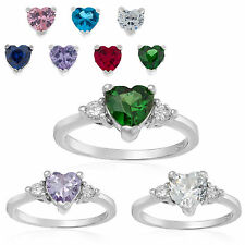 BRIDAL WEDDING WOMEN BRITHSTONE CZ 18K WHITE GP HEART LOVE PROMOSE RING SIZE 6-8