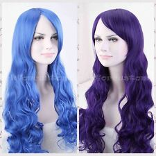 "Fashion 32"" Europe Women Long Curly Wavy Cosplay Party Full Wig Wigs Blue/Purple"