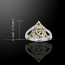 Celtic Knot TRIQUETRA Ring .925 Silver Gold GODDESS Irish Trinity Elegance Ring