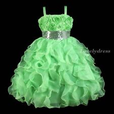 NEW Flower Girl Wedding Pageant Party Princess Bridsmaid Dress Green SZ 5-9 Q413