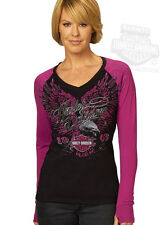 Harley-Davidson Womens Eagle Raglan Black Purple Long Sleeve T-Shirt w/ Flocking