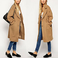 Fashion Womens Camel Wool Long Winter Parka Trench Coat Oversized Outwear Jacket