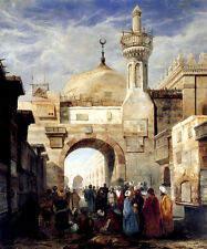 MOSQUE OF AL AZHAR IN CAIRO EGYPT WORSHIP PAINTING BY ADRIEN DAUZATS REPRO