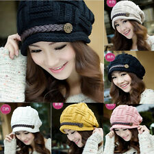 Fashion Women Braided Warm Rageared Baggy Winter Beanie Knit Crochet Ski Hat Cap