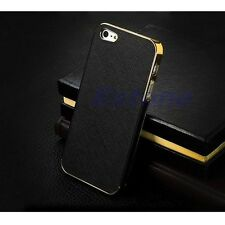 Hot Sale Luxury Leather Chrome  Frame Hard Case Cover For iPhone 5G 5S