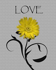 Yellow Gray Wall Art/Daisy Flower/Bedroom Decor Matted Picture  (Options)