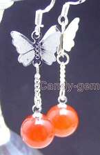 SALE Big 10mm Round Red jade & silver plated butterfly dangle earring-e407
