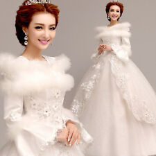 A-Line Formal Wedding Dress Bridal Gown Bubble Skirt Long Sleeve Winter Y151F