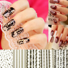 3D Lace Black White Nail Art Manicure Tips Sticker Decal DIY Decoration NEW W8