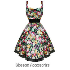 RKH40 Hearts & Roses Floral Sleeveless Rockabilly Dress 50's Vintage Prom Swing
