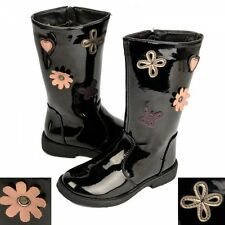 S513 - Girls Black Patent Floral Flat Mid-Calf Riding Boots - UK 10 - 12